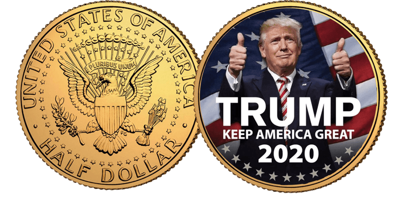 24K Gold Plated Trump 2020 Coin
