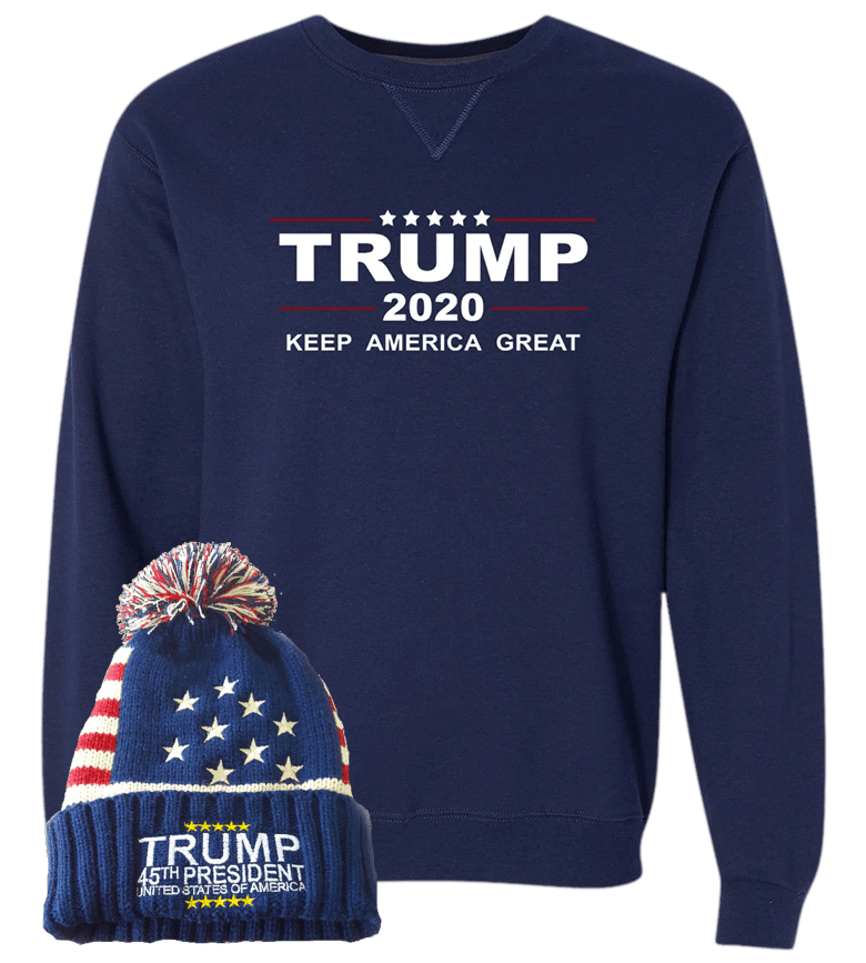 Trump 2020 Sweatshirt With Free Beanie